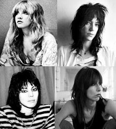 Stevie Nicks, Patty Smith, Joan Jett, Chrissie Hynde hair colors, femm rocker, chrissy hynde, chrissi hynd, chrissie hynde, stevie nicks, stevi nick, chic hair, rock and roll hair