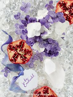 A charming mix of frosted florals sweetened with sparkling, sugared pomegranate. #BeEnchanted