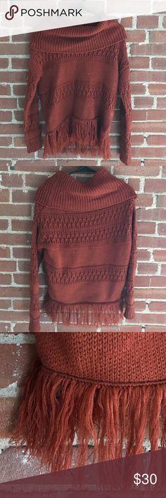 Rustic Orange Fringe Sweater Xhilaration Sweater, worn once, no snags or damage. Xhilaration Sweaters Cowl & Turtlenecks