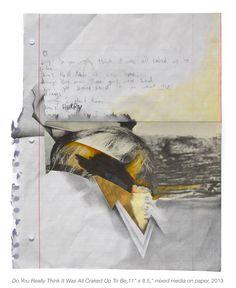 """Megan Greene. """"Jim Jimmy"""", 11"""" x 8.5"""", mixed media on paper, 2013"""