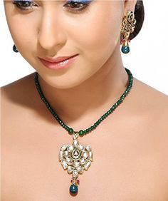 Aapno Rajasthan Gold Plated Jewellery Set for Women (Green and Red)