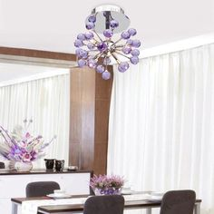 """Model: 6-light Floral Shape K9 Crystal Chandelier Diameter 22cm/8.7"""";Height 30cm/11.8"""" Material: Metal + Crystal Color: Purple (As picture shows); Weight: about"""