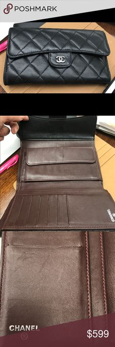 Authentic black Chanel Lambskin wallet in EUC! Beautiful Chanel Authentic Black quilted lambskin - super soft - to die for. Burgundy standard interior - silver CC hardware. No rips tears or stains - just evidence of gentle use. See all pictures. CHANEL Accessories