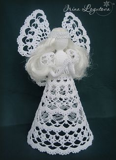 "Photo from album ""Вязаные игрушки"" on Yandex. Crochet Angel Pattern, Crochet Flower Tutorial, Crochet Angels, Crochet Cross, Thread Crochet, Crochet Flowers, Crochet Patterns, Christmas Arts And Crafts, Crochet Christmas Ornaments"