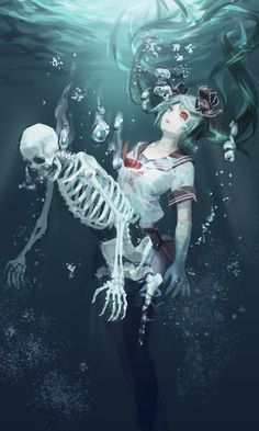 Anime picture with vocaloid bacterial contamination (vocaloid) calcium liyou-ryon long hair single tall image red eyes twintails green eyes aqua eyes pleated skirt eyebrows parted lips heterochromia eyelashes underwater skeleton black sclera girl Art Anime, Manga Art, Manga Anime, Anime Kiss, Anime Figures, Anime Characters, Vocaloid, Animes Yandere, Girls Anime