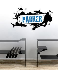 Take a look at this Black & Blue Personalized Shark Name Frame Decal Set by Sissy Little on #zulily today!