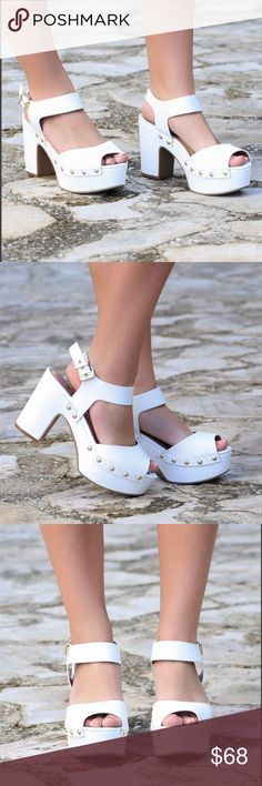 """White Open Toe Mule Clog Platform White platform heels with gold detailing and ankle strap closure. Heel height is 3"""" Boutique Shoes Mules & Clogs"""