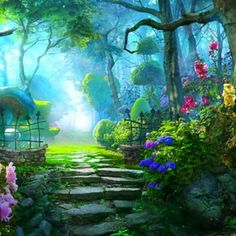 47 Fairy Garden Ideas Enchanted Forest Wonderland - Famous Last Words Casa Anime, Anime Backgrounds Wallpapers, Episode Backgrounds, Anime Places, Forest Wallpaper, Garden Drawing, Magic Forest, Halloween Backgrounds, Fantasy Places