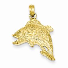 14k Yellow Gold Jumping Bass Fish Pendant