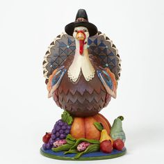 "Jim Shore Heartwood Creek Turkey on Pumpkin ""Gratefu L Joyful Thankful"" 