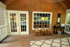 Screened in porch with French doors...