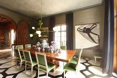 Stunning tortoiseshell or burl finish on this dining room table by San Francisco decorative painter Katherine Jacobus.