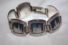 Sterling Enamel Souvenir Bracelet Tourist Belgium  by patwatty, $35.00