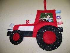 Tractor Crinkle baby Taggie Toy Patchwork look by civilwarlady, $19.99