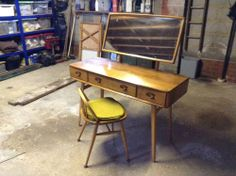 Ercol Windsor Elm Dressing Table And Chair/Stool