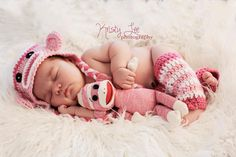 - White, Bright Pink & Light Pink Sock Monkey Earflap Hat, Leg Warmers and Matching Doll - Newborn Baby Girl Photo Prop - MADE TO ORDER. 52.00, via Etsy. -