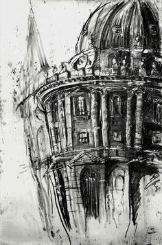 Tim Steward - Architectural - Rad Cam 12, Oxford Architecture Sketchbook, Architecture Art, Art Alevel, Skyline Painting, School Art Projects, High Art, Drawing Techniques, Urban Landscape, Urban Art