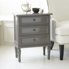 "$349 - Lacquer Louis 3 Drawer Side Table | Ballard Designs Overall: 28 1/2""H X 22 1/4""W X 13 1/2""D"