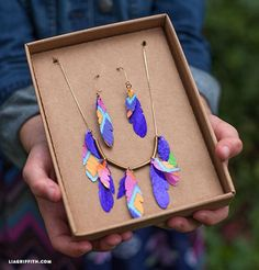 DIY Duck Tape Jewelry Bohemian Feather Necklace & Earring Set