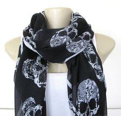 Skull Scarf  Black and White Skull Large Fashion by ViviansAttic, $14.90