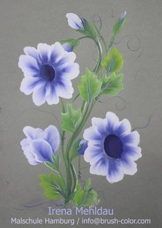 One Stroke Vorlagen Acrylic Painting Lessons, One Stroke Painting, Body Painting, Painting & Drawing, Folk Art Flowers, Flower Art, Donna Dewberry Painting, Tole Painting Patterns, How To Make Paper Flowers