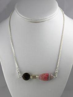 Handmade rhodochrosite, smoky quartz, sterling & fine silver necklace by Susan Pauls.