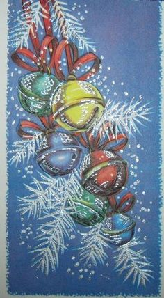 Image result for christmas paintings on canvas by krista Vintage Christmas Cards, Retro Christmas, Christmas Bells, Vintage Holiday, Christmas Signs, Christmas Pictures, Christmas Projects, Christmas Art, Christmas Decorations