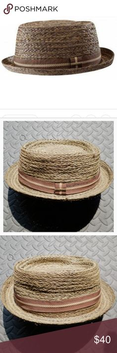 Stetson Straw Hat Prichard Pork Pie Straw Hat by Stetson  Soft, flat, zig zag stitches and grosgrain band with arrow pattern.  Comfortable interior band. 100% straw Stetson Accessories Hats
