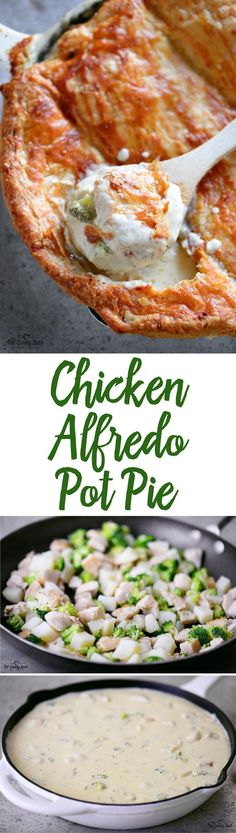 This Chicken Alfredo Pot Pie recipe has a creamy alfredo sauce filled with juicy chicken and tender vegetables topped with a flaky, golden crust. This easy family dinner recipe can be customized to your family's specifications by adding your favorite vegetables and removing ones you don't want.