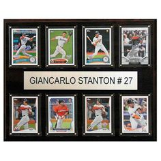 C and I Collectables MLB 15W x 12H in. Giancarlo Stanton Miami Marlins 8 Card Plaque - 1215STANTON8C