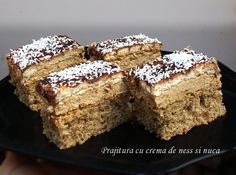 Dessert cake with ness cream and walnut Hungarian Desserts, Romanian Desserts, Romanian Food, Hungarian Recipes, Romanian Recipes, Food Cakes, Cupcake Cakes, Sweets Recipes, Cake Recipes