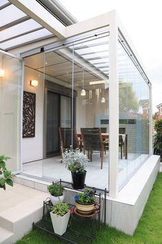 Home Garden Design, Patio Design, House Design, Modern Front Porches, Modern Patio, Patio Interior, Interior And Exterior, Rooftop Terrace Design, Garden Room Extensions