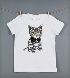 Look at this Feather 4 Arrow White Hipster Kitten Tee - Toddler & Girls by Feather 4 Arrow Hipster Cat, Fashion Artwork, White Cotton T Shirts, Cat Shirts, Kid Styles, Printed Tees, Cool Kids, Kids Fashion, Women's Fashion