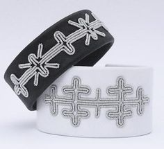 Leather bracelets embroidered with pewter wire, from AC Design