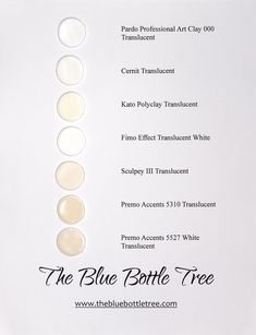 Very useful testing of translucent clays carried out by The Blue Bottle Tree. This is a comparison of samples of raw uncured translucent polymer clay in several brands. You can see the difference in colour before baking.