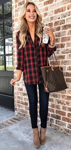 #winter #outfits black and red check long-sleeved collared top #WomenWatches