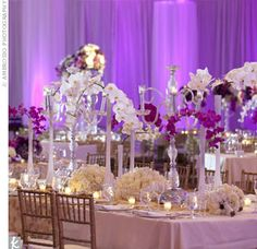 Gold and purple created a regal feel, with the walls draped in purple uplighting.