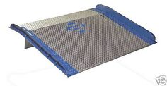 """Steel curbs are bolted to the aluminum diamond pattern plate for increased strength, and to help prevent runoff. Locking legs provide secure positioning. Lip bend is 11f. Standard lip length for conventional trailers is 11"""", option of 14"""" for refrigerated applications.  Wide range of dock board sizes available. Other details can be found on our website."""