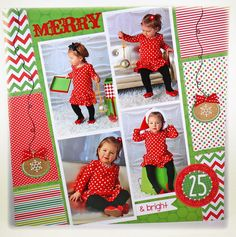 "Cute ""Merry & Bright"" Christmas Layout...Taylor Van Bruggen: Taylored Expressions.  Dec. 18, 2012 post."
