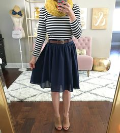 Department Director Long-Sleeved Dress, mustard cowl neck scarf, claara block heel sandals, stripes, mustard scarf, fall outfit, petite outfit, petite dresses, petite fashion - click the photo for outfit details!