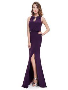 c23be3aaa0 Sleeveless Beaded Keyhole Neckline Dress - Ever-Pretty US  EverPretty   EverPrettyDress  PurpleDress