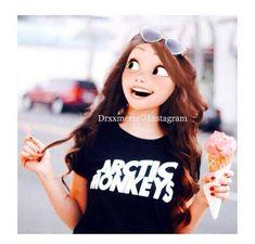 Modern Rapunzel with brown hair eating ice cream. Princesas Disney Hipster, Punk Disney, Disney Girls, Disney Art, Disney Movies, Disney Princess Fashion, Disney Princess Frozen, Disney Princess Drawings, Rapunzel