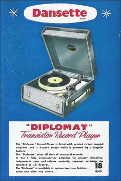 I had a similar 45 rpm record player. Old Vinyl Records, Vintage Records, Vintage Advertisements, Vintage Ads, Advertising Ads, Vintage Posters, Nostalgia, Shopping, Musica