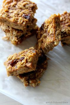 Gluten-free Pumpkin Oatmeal Squares | Used 1/4 c egg whites (2 egg whites), bake in brownie pan for thicker oatmeal squares, bake for 20-25 minutes. Gives 8 squares.
