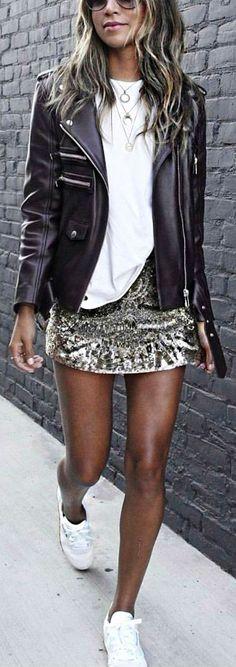 #winter #fashion /  Black Bicker Jacket / White Tee / Sequins Skirt / White Sneakers