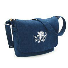 BlueSkyDeer Canvas Messenger Bag Shoulder Bag with Embroidered Lotus Flower *** Click on the image for additional details. (This is an affiliate link) #Messenger