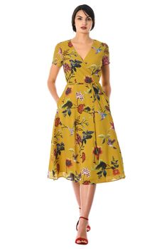 Surplice styling and a tie waist create an effortlessly flattering silhouette in our lightweight wrap dress, specially printed to make each one unique in vintage Victoriana.Floral print georgette wrap dress from eShaktiThe perfect Empire Waist Dresse Stylish Dresses, Casual Dresses, Fashion Dresses, Summer Dresses, Party Dresses, Tea Dresses, Sleeve Dresses, Midi Dresses, Floral Dresses