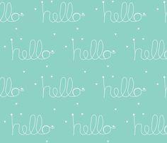 hello mint fabric by ninaribena on Spoonflower - custom fabric