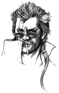 Week 10 - Final Fantasy X - Concept Art Mon - Auron Face Sketch