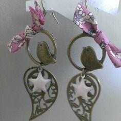 """Boucles d'oreilles """"liberty bird"""" bronze et rose"""